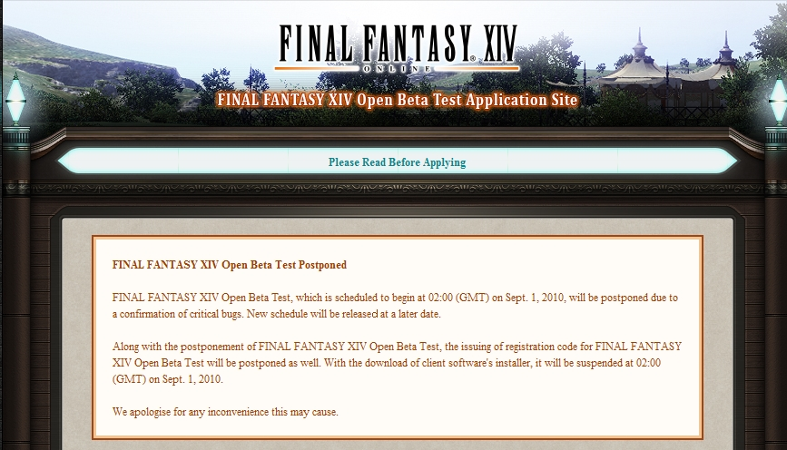 final fantasy beta postponed
